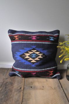 Tribal+Wool+Pillow+Blue++Royal+by+shopchristinanicole+on+Etsy,+$65.00