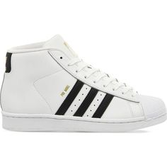 ADIDAS Pro model leather high-top trainers (£77) ❤ liked on Polyvore featuring shoes, sneakers, white black, black and white high top sneakers, high top shoes, adidas shoes, adidas footwear and black and white sneakers