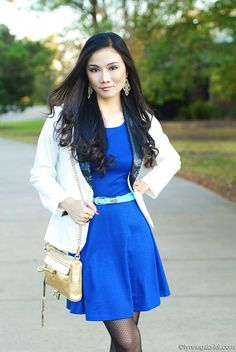 Lynne Gabriel in a Deb Shops skater dress paired with a blazer!