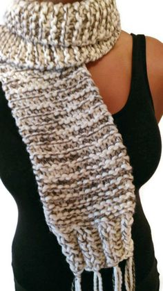 White Brown and Black Men and Women's Winter Scarf by NadiasKnits, $46.00