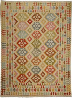 Kilim Afghan Old style carpet 254x338