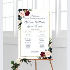 #weddingprogram #weddingsigns #weddingreception #ceremonyprogram #program #itinerary #wedding #sign #signs #diy #printable #weddingprintables #reception #weddingreception #weddingdecor #bridaldecor #blush #navy #pink #marsala #boho #bohemian #vintage Wedding Program Sign, Ceremony Programs, Wedding Signs, Bridal Decorations, Ceremony Decorations, Navy Blue Flowers, Navy Pink, Floral Theme, Cream Roses