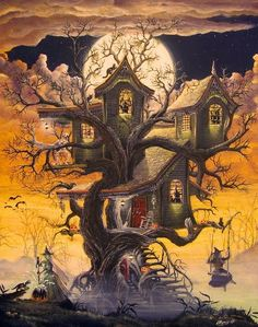 Folk Art Halloween Witches' Haunted Tree House PRINT Witch Swing Cats Byrum