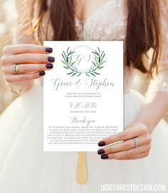 Greenery Wedding Program Fan / Eucalyptus Crest / Initial