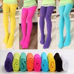 Girls Kids Tights Candy Color Pantyhose Stockings Soft Velvet Ballet Dance Socks…