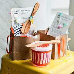 Party favors - ice cream recipe, wooden spoon and decorated pint container