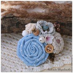"""Купить Брошь """"Утреннее небо"""" - голубой, молочный, голубая брошь, голубая роза…"""