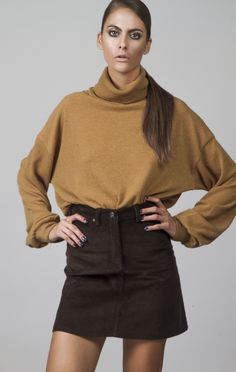 Corduroy A line retro skirt. Corduroy, Mini Skirts, Turtle Neck, Sweaters, Fashion, Moda, Fashion Styles, Sweater, Fashion Illustrations