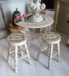 1:12th Scale Miniature Romantic Cream Aged Café Stool for