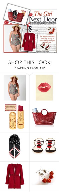 """Cherry Red"" by lustydame ❤ liked on Polyvore featuring Bettie Page, TheBalm, Mark & Graham, Givenchy, Charlotte Olympia and River Island"