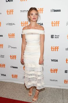 Photo Archive: Click image to close this window Lily James, Celebrity Red Carpet, Celebrity Style, Love Lily, Hollywood Fashion, Hollywood Style, Toronto Film Festival, L'oréal Paris, Dress And Heels