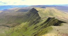 This is where I ate my breakfast this morning. View of Cribyn from the top of Pen Y Fan, Wales