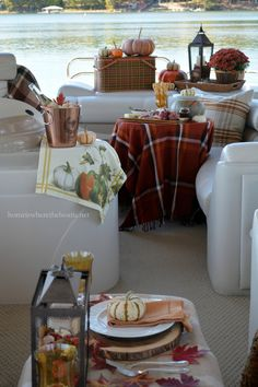 A Fall Pontoon Picnic – Home is Where the Boat Is Pontoon Boat Party, Pontoon Boats, Mums In Pumpkins, Boat Food, Boat Snacks, Fall Picnic, Boat Decor, Lake Decor, Float Your Boat