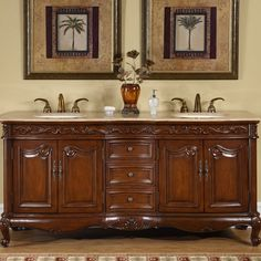 "This Silkroad Exclusive Nassau 72"" Double Bathroom Vanity Set is the perfect addition to your bathroom. It is a wonderful blend of form and function. <br/><br/>This Nassau 72"" Double Bathroom Vanity Set by Silkroad Exclusive is made of wood, which ensures strength and durability. This piece boasts a Travertine top with a beige finish. It has a medium wood finish at its base. It has a distressed finish, which gives it a worn-out look. It features two porcelain i..."