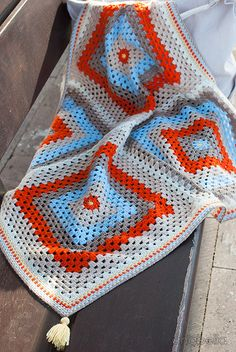 Ravelry: Sabine baby blanket pattern by Anabelia Handmade Granny Square Blanket, Granny Square Crochet Pattern, Crochet Squares, Crochet Granny, Crochet Blanket Patterns, Crochet Motif, Baby Blanket Crochet, Crochet Baby, Knit Crochet