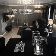 Dark interiors are edgy, trendy, enigmatic, sophisticated. Let yourself be inspired by moody and ecletic interior decor ideas. Glam Living Room, Living Room Decor Cozy, Home Decor Bedroom, Living Spaces, Bedroom Ideas, Black Living Room Furniture, Gothic Living Rooms, Black Furniture, Antique Furniture