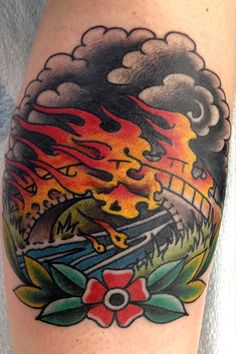 Image result for burning bridge tattoo