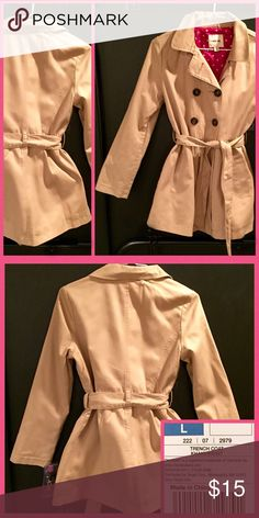 NWT Khaki Trench Coat-Girls-Super Cute...Target NWT-from Target-Size Large-Cherokee Brand-Adorable Pink with white polka dot lining! Cherokee Jackets & Coats