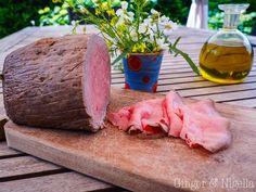 antipasto, cbt, cottura a bassa temperatura, fior di sale, Helen Mon, Piatti estivi, piatti freddi, riduzione di rucola, Roast beef, rucola