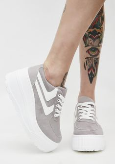 Qupid Free, fast shipping on Vegan Suede Gray Platform Sneakers at Dolls Kill, an online boutique for punk and rock fashion. Shop punk boots, Demonia, & platform shoes.