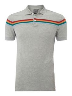 JC Rags Regular fit chest stripe polo shirt Grey Marl