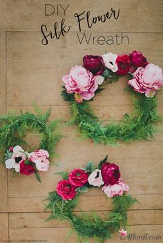 DIY Silk Flower Wreath filled with luscious ferns and pink and wine toned faux flowers