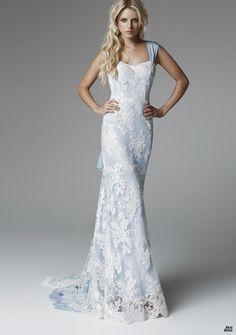 blumarine wedding dresses 2013 - light blue sheath with white lace over lay