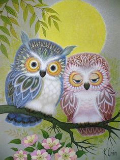 Vintage K Chin Pair of Owls Lithograph from Etsy seller mousefacevintage, $16