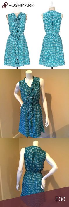 "LIL Anthropologie sz 4 green silk cascading dress LIL Anthropologie sz 4 green silk cascading dress. Missing belt! Drenched in vibrant teal hue, a waterfall of frills spills down the front Lil's silk frock. Bust 16.5"", length 38"".  Elasticized waist Button closure Silk Hand wash Imported Style No. 933108 Anthropologie Dresses Midi"
