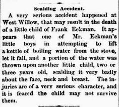 Genealogical Gems: On This Day: Eckman child scalded