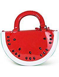 New Interesting European Pattern Tote Women Semicircle Watermelon Bag PU Shoulder Bag Fruit Shape Red Ladies Handbags Cute Handbags, Small Handbags, Ladies Handbags, Novelty Handbags, Watermelon Purse, Watermelon Patch, Watermelon Fruit, Red Fruit, Bag In Box