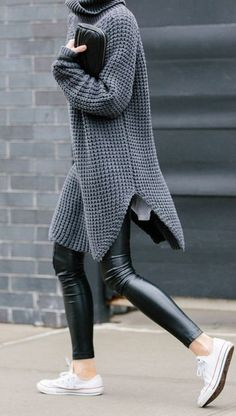 fall inspiration / long sweater + converse + leather pants