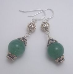 Sterling Silver Dyed Jade Earrings Green Dyed by ForEvaDesigns, $26.00