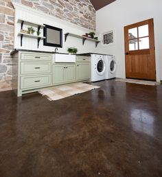 Stained Concrete Laundry Room/Foyer