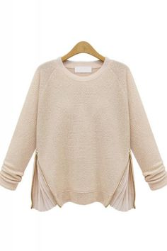 Chiffon Splicing Zipper Decorated Long Sleeve Pullover Sweater all in the details
