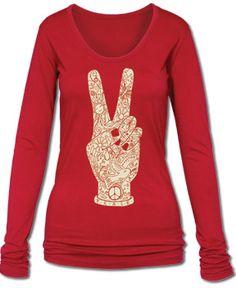 SoulFlower-SALE! Peace Fingers Long Sleeve Organic T-Shirt-$29.00