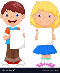 Little kids holding blank paper Royalty Free Vector Image Cute Cartoon Girl, Cartoon Kids, Boarders And Frames, Best Photo Background, First Day Of School Activities, Bible Crafts For Kids, Montessori Activities, Diy Bow, School Pictures