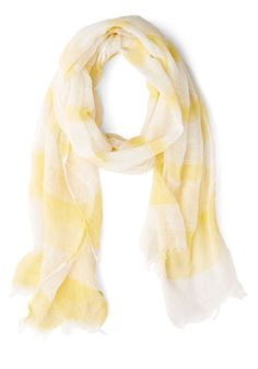 You Meringue? Scarf. Like the delicious taste of your favorite dessert, this yellow-and-white scarf satisfies your craving for sweetness. #yellow #modcloth