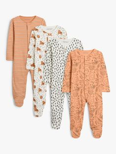 ANYDAY John Lewis & Partners Baby Animals Print Sleepsuit, Pack of 4, Multi at John Lewis & Partners Cute Tigers, Baby Layette, Baby Images, Unisex Baby, Fun Prints, John Lewis, Types Of Sleeves, Baby Animals, Cute Babies