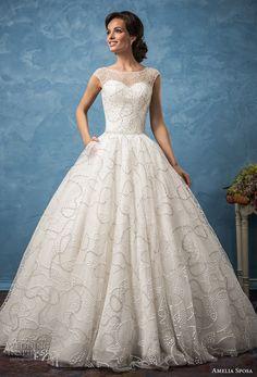 amelia sposa 2017 bridal cap sleeves illusion bateau neckline full embellishment beaded romantic a  line wedding dress with pockets chapel train (vanessa) mv