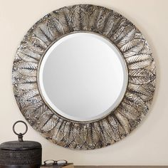 Uttermost 07065 Foliage Impression Rounded Mirror Lightly Antiqued Silver Leaf Home Decor Mirrors Wall Mirror Beveled Edge Mirror, Wood Mirror, Round Wall Mirror, Round Mirrors, Mirror Mirror, Mirror Glass, Wall Mirrors, Glass Art, Distressed Mirror