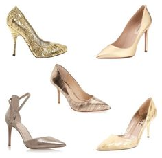 """""""Golden Pumps"""" by mspippistyle ❤ liked on Polyvore featuring Dolce&Gabbana, Vince Camuto, Valentino, Lanvin, Nine West, Pumps and Heels"""