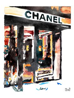 Art: Chanel store front watercolor by Jennifer Purcell