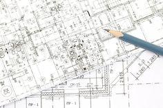 Stock Bild von 'Hintergrund der architektonischen Zeichnungen und Bleistift'