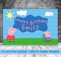 Peppa Pig Inspired Party Backdrop AUGUST SPECIAL !!! by TheInvitationBoutiqu on Etsy https://www.etsy.com/listing/182625432/peppa-pig-inspired-party-backdrop-august