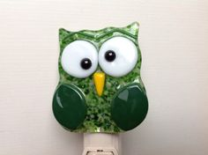 Fused Glass Green Owl Night Light by LaGlasSea on Etsy