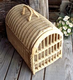 Vintage Woven Wicker Cat Basket - Wicker Pet Basket - Cat Carrier - Cat House / Bed - Pet Supplies - Travel Box - Home Decor