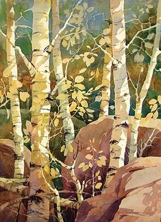 Gloria Miller Allen Watercolor Superb capturing of light on the Aspen leaves. Would draw the eye in any room.