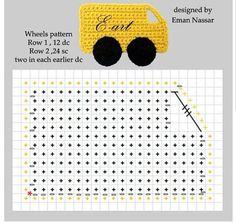 Crochet truck appliqué ♥️LCM-MRS♥️ with diagram. ---- Delicadezas en crochet Gabriela: Aplicaciones autitos