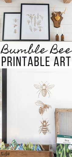 Get this adorable bumble bee printable art for FREE! This is the perfect artwork to add to your home for the summer! These are available for FREE in library Free Printable Art, Free Printables, Doodle Monster, Farmhouse Style Decorating, Farmhouse Decor, Watercolor Plants, Bees Knees, Home Wall Art, Diy Projects